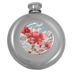 Flowers In The Sky Hip Flask (round)