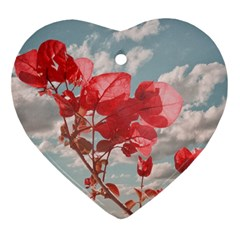 Flowers In The Sky Heart Ornament (two Sides)