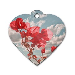 Flowers In The Sky Dog Tag Heart (two Sided)