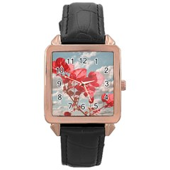 Flowers In The Sky Rose Gold Leather Watch