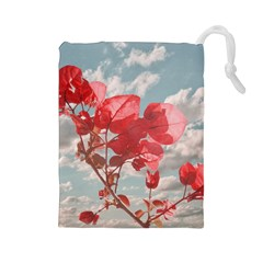 Flowers In The Sky Drawstring Pouch (large)