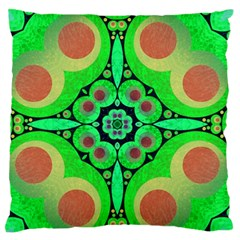 Neon Green  Large Flano Cushion Case (two Sides)