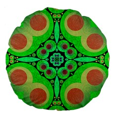 Neon Green  Large Flano Round Cushion