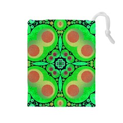 Neon Green  Drawstring Pouch (Large)