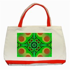 Neon Green  Classic Tote Bag (red)