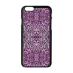 Pink Leopard  Apple Iphone 6 Black Enamel Case