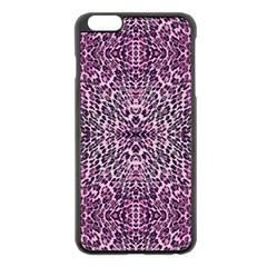 Pink Leopard  Apple Iphone 6 Plus Black Enamel Case