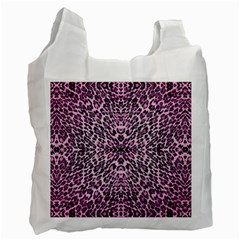 Pink Leopard  White Reusable Bag (one Side)
