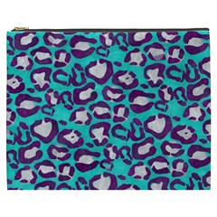 Turquoise Cheetah Cosmetic Bag (xxxl)