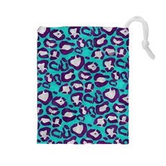 Turquoise Cheetah Drawstring Pouch (large)