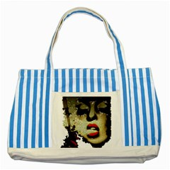 Woman With Attitude Grunge  Blue Striped Tote Bag