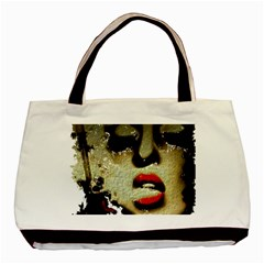 Woman With Attitude Grunge  Twin Sided Black Tote Bag