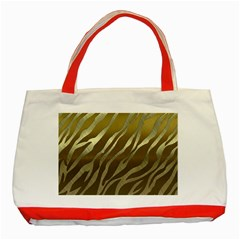 Metal Gold Zebra  Classic Tote Bag (Red)