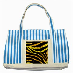 Yellow Bling Zebra  Blue Striped Tote Bag