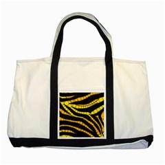 Yellow Bling Zebra  Two Toned Tote Bag