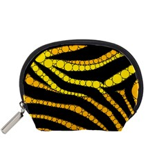 Yellow Bling Zebra  Accessory Pouch (small)