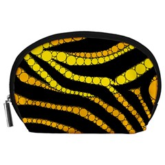 Yellow Bling Zebra  Accessory Pouch (Large)
