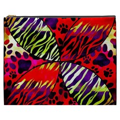 Crazy Animal Print Lady  Cosmetic Bag (XXXL)