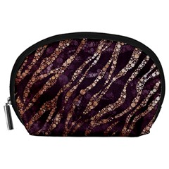 Lavender Gold Zebra  Accessory Pouch (Large)