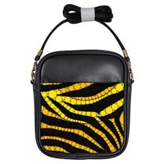 Yellow Bling Zebra  Girl s Sling Bag
