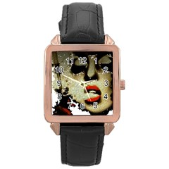 Woman With Attitude Grunge  Rose Gold Leather Watch
