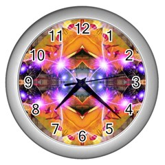 Abstract Flower Wall Clock (silver)