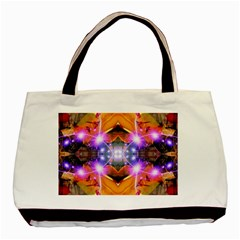 Abstract Flower Twin Sided Black Tote Bag
