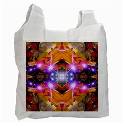 Abstract Flower White Reusable Bag (two Sides)