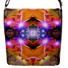 Abstract Flower Flap Closure Messenger Bag (Small)