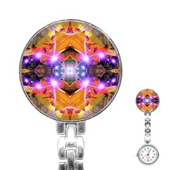 Abstract Flower Stainless Steel Nurses Watch