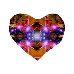 Abstract Flower Standard Flano Heart Shape Cushion
