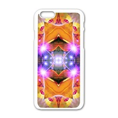 Abstract Flower Apple iPhone 6 White Enamel Case