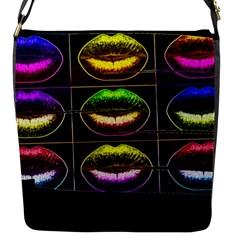 Sassy Lips  Flap Closure Messenger Bag (small)