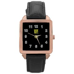 Vape Life Yellow  Rose Gold Leather Watch