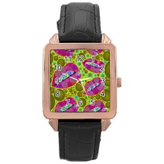 Sassy Lips Bubbles  Rose Gold Leather Watch