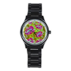 Sassy Lips Bubbles  Sport Metal Watch (black)