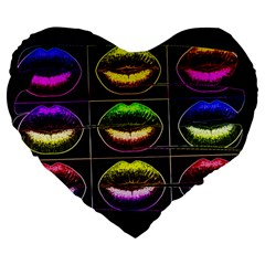 Sassy Lips  Large Flano Heart Shape Cushion