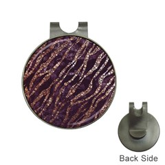 Lavender Gold Zebra  Hat Clip With Golf Ball Marker