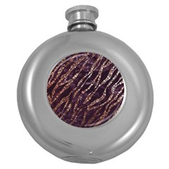Lavender Gold Zebra  Hip Flask (round)