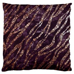 Lavender Gold Zebra  Large Flano Cushion Case (Two Sides)