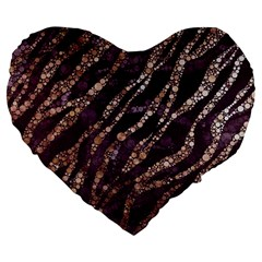 Lavender Gold Zebra  Large Flano Heart Shape Cushion