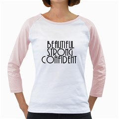 Beautiful Strong Confident  Women s Long Cap Sleeve T-Shirt (White)