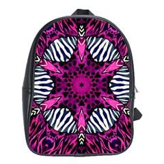 Crazy Hot Pink Zebra  School Bag (large)