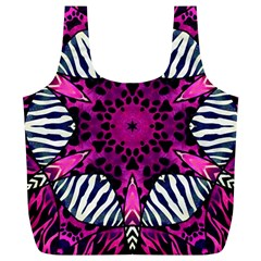 Crazy Hot Pink Zebra  Reusable Bag (XL)