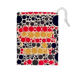 Retro Polka Dots  Drawstring Pouch (Large)