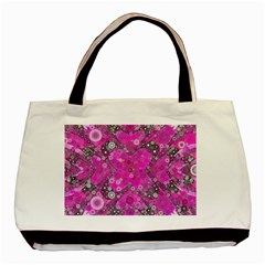 Dazzling Hot Pink Twin Sided Black Tote Bag