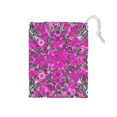 Dazzling Hot Pink Drawstring Pouch (Medium)