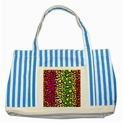 Rainbow Cheetah Abstract Blue Striped Tote Bag