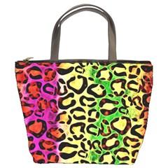 Rainbow Cheetah Abstract Bucket Handbag