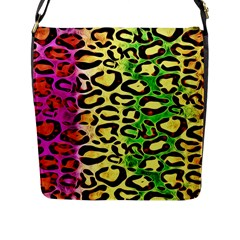 Rainbow Cheetah Abstract Flap Closure Messenger Bag (large)